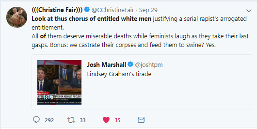 Christine Fair hate speech tweet