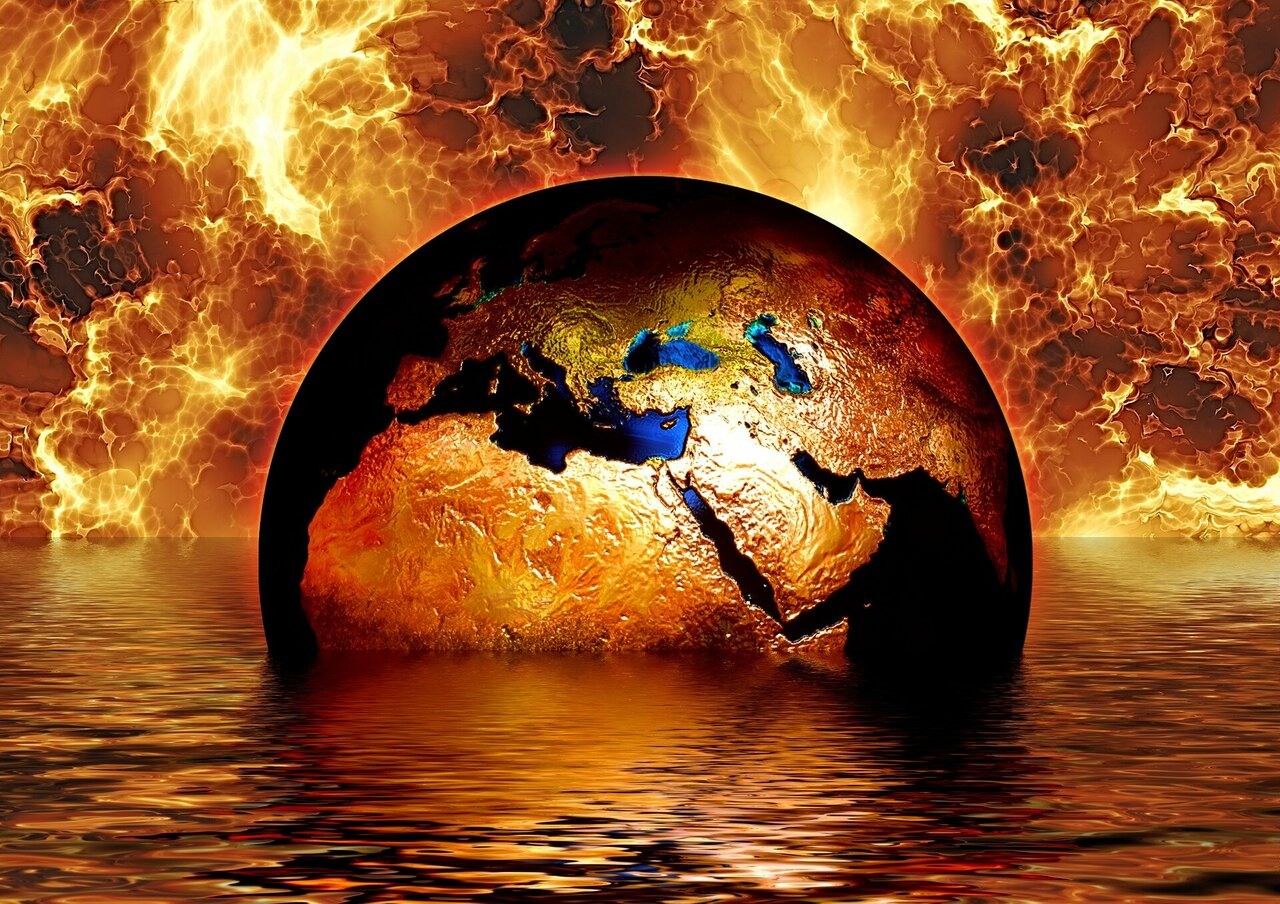 Burning and sinking earth
